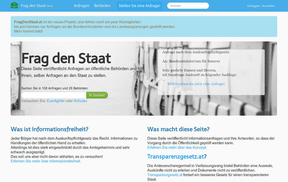 FragDenStaat.at geht online